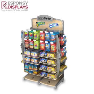 Cartoon Figure Mobile Floor Metal & Wood Food Display Snack Display Rack with Hooks and Tiers pictures & photos