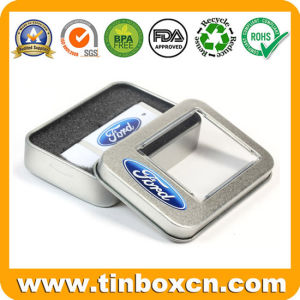 Metal Gift Packaging Square Battery Tin Box with PVC Window pictures & photos