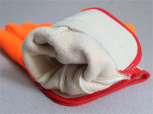 Smooth Finish Jersey Liner Orange PVC Winter Glove-5122 pictures & photos