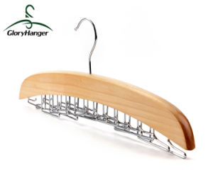 Wooden Tie Hanger with 24 Folded Metal Hook pictures & photos
