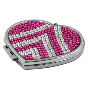 Attractive Heart Shape Double Sided Makeup Mirror with Imitation Diamond (XD-117) pictures & photos