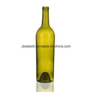 Height 304mm Taper Glass Wine Bottles with Cork Finish Top pictures & photos