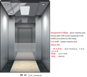 Mrl Passenger Elevator with Luxury Lift Cabin Decoration pictures & photos