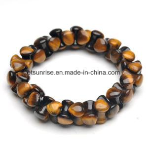 Semi Precious Stone Fashion Crystal Tiger Eye Beaded Bracelet Jewelry pictures & photos