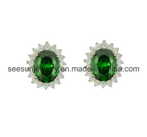 925 Silver Hotsale Earring with Emerald Green CZ for Women pictures & photos