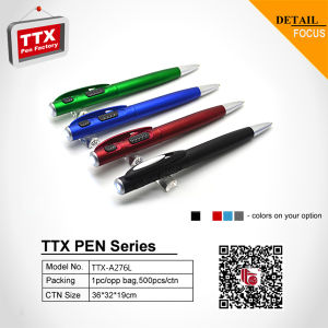 Twist Pen with LED Light Plastic LED Light Ball Pen