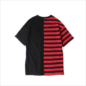 Color Block Stripe Graphic Loose Round Collar Classic Tee pictures & photos