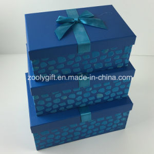 Custom Design Flocking Ribbon Decorated Paper Gift Storage Box pictures & photos