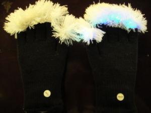 LED Glove, Glove, Black Glove W/POM-POM (555b)