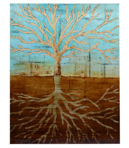 Handpainted Modern Golden Wild Tree Roots Oil Painting (LH-067000) pictures & photos
