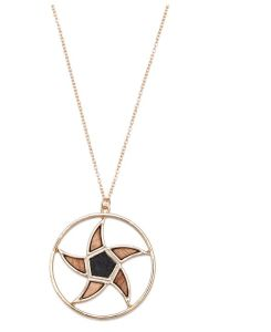 Geometric Flower Shaped Wood Element Combined Necklace Fashion Jewelry