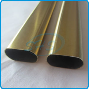 Stainless Steel Welded Flat Sided Oval Pipes (Tubes) Plated with Titanium for Cars