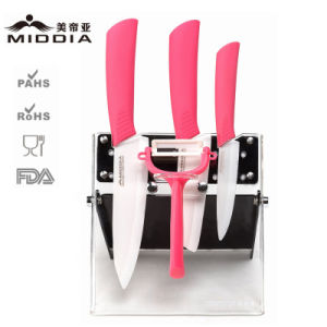 5PCS Ceramic Kitchen Tool Set for Fruit/Chef′s Knife/Peeler with Block pictures & photos