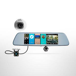 "HS810 8.0"" Rearview Mirror 1080P Car DVR Three Lens Video Recorder Dash Cam Camera pictures & photos"