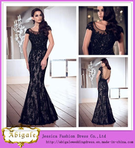 Brand Name Floor Length Scoop Neck Short Sleeve Mermaid Black Open Back Lace Evening Dress (WD48)