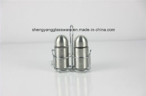 Bullet Glass Spice Bottle with Stainless Steel Wrap pictures & photos