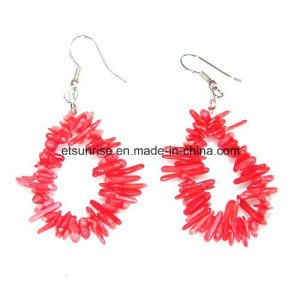 Semi Precious Stone Natural Crystal Red Pink Coral Charming Earring pictures & photos