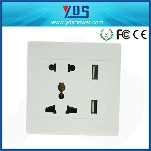 5V 2.1A Ce Universal Dual USB Wall Socket 5 Pin pictures & photos