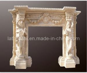 Sculpture Carving Beige Marble Fireplace pictures & photos