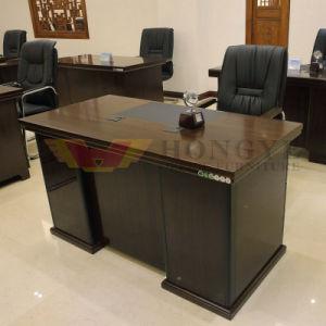 Lighting Color Glossy Walnut Veneer Wooden Design Staff Desk (HY-D8602) pictures & photos