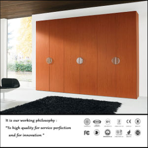 Wood Veneer Swing Door Wardrobe (ZH547) pictures & photos