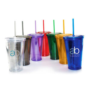 Plastic Tumbler with Straw with Customized Logo Made in China pictures & photos