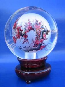 Crystal Glass Engraving Painting Ball for Decoration and Gifts pictures & photos