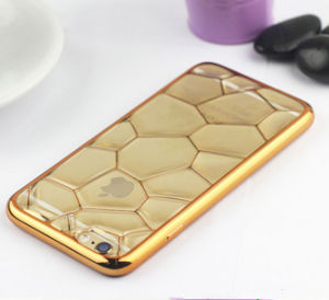 Hot New Product Water Cube 3D Phone Case Shockproof Electroplated Gold Edge TPU Cover Case for iPhone 6 Mobile Phone Accessory Case pictures & photos