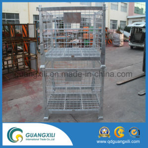 Folding Steel Storage Cage with Strong Leg in Lifting Type pictures & photos