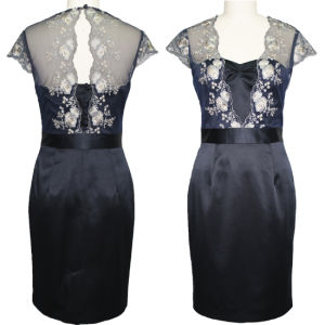 Noble Sleeveless Navy Blue Embroidered Backless Dress (1-067-20)
