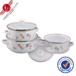 Durable Eco-Friendly Kitchenware Enamel Cookware Set with Glass Lid pictures & photos
