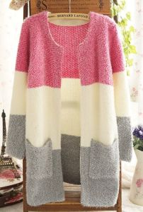 Knitted Sweater Cardigan Mohair Women of Colour Fringe (BTQ024) pictures & photos