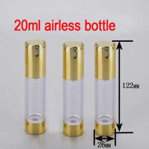 20ml Gold/Round/Empty/ Small Luxury Lotion Airless Pump Bottle pictures & photos