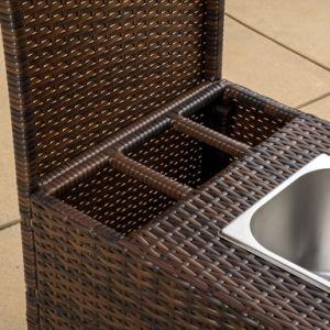 Garden Rattan PE Wicker Bar Cart with Built-in Ice Bucket pictures & photos