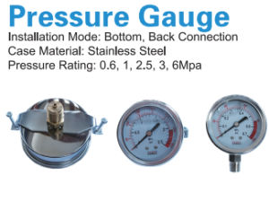 Pressure Gauge Bottom Connection with Oil for RO Water Equipment pictures & photos