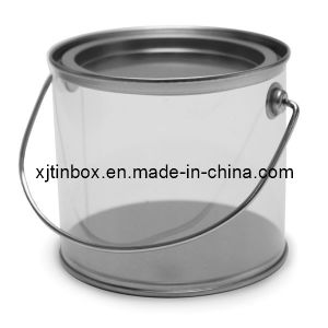 Round Tin Box with Pet Window, Package Tin Box, Metal Box with Handle (XJ-042Y)