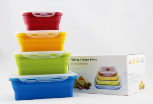 High Quality Food Grade Silicone Folding Lunch Box Set
