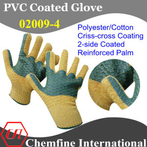 10g Yellow Polyester/Cotton Knitted Glove with Dark Green Reinforced Palm & 2-Side Yellow PVC Criss-Cross Coating/ En388: 124X pictures & photos