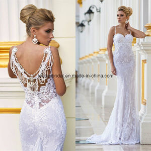 Sheath Lace Spaghetti Mermaid Bridal Gowns Wedding Dresses Z5055 pictures & photos