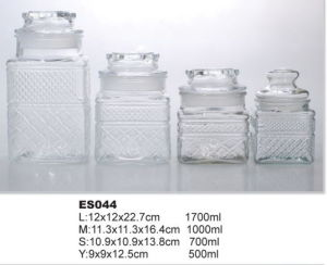 Glass Canister Round Shape Glass Drink Storage Mason Jar