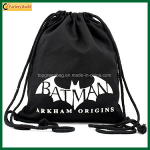 Simple School Bag Organic Black Cotton Drawstring Backpack Bag (TP-dB264) pictures & photos