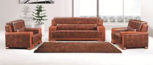 Wooden Frame Leather Office Sofa (FOH-8002) pictures & photos