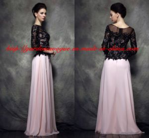 Fashion Maxi Dress Chiffon Black and Pink SGS Mother of The Bride Dress (GDNY052)
