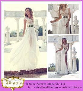 2014 Sexy A Line V Neck Short Sleeve High Slit Floor Length Chiffon and Lace with Sash Julie Vino Wedding Dresses (HS069) pictures & photos
