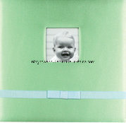 "12""X12"" Silk Fabric Scrapbook Album with Frame and Ribbon for Baby Boy"