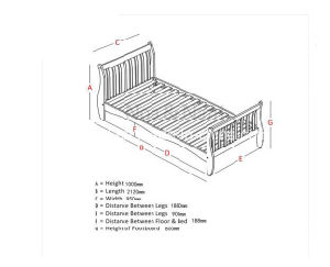 Single Bed in White with Sleigh Design, Astrid Bed Frame pictures & photos