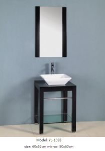 Sanitary Ware Glass Wash Basin Vanity with Mirror pictures & photos