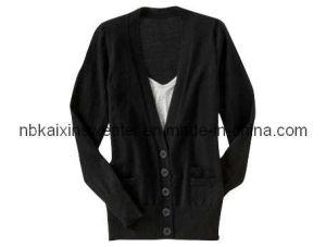 Boyfriend′s Black Basic Cardigan (KX-W33)