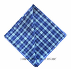 Factory Produce Checked Blue Printed Yarn Dyed Men′s Cotton Handkerchief pictures & photos