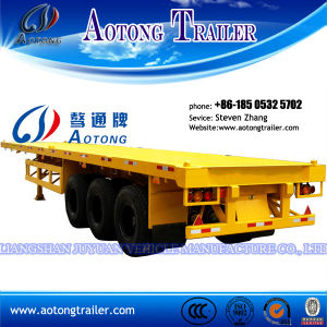 3 Axle Flatbed Container Transport Semi Trailer for Sale pictures & photos